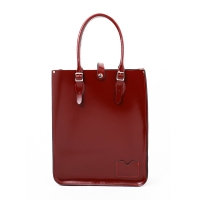 Patent Oxblood Red Leather Tote Bag