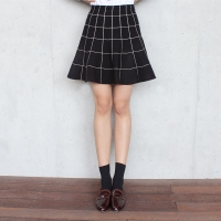 Windowpane Knit SKIRT (2-color)