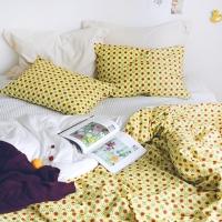 Nordic Flower_Yellow checkerwise pattern Linen