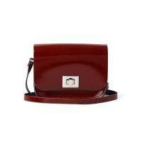 Patent Oxblood Red Small Pixie Bag
