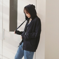 Daily loose fit hood zip-up