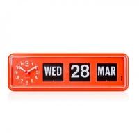 BQ-38 TWEMCO Calendar Flip Wall Clock - orange