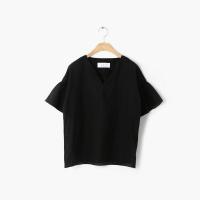 V-slit ruffle sleeve blouse