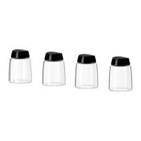 IKEA IHARDIG Spice jar, glass, black 4 pack 901.636.91 양념통