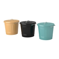 KNODD Bin with lid, assorted colours 수납함