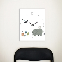 [Millim] Canvas clock - zoo (Hippo)