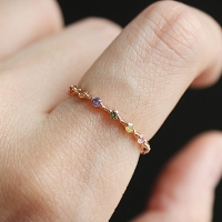멀티 컬러 큐빅 반지 multi color cubic ring
