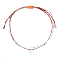 [RAINBOW발찌]92.5 Silver Initial Fluorescent orange Mix Misanga