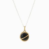 Medium Orbit Necklace - Black onyx/Sil chain