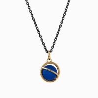 Medium Orbit Necklace - Blue agate/Oxi chain