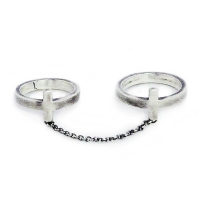 double cross chain ring - silver