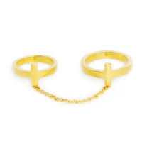 double cross chain ring - gold