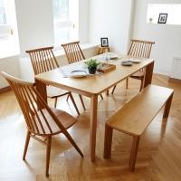 고운W 오크 4인 와이드 식탁세트 / 벤치, 의자