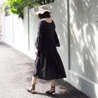gauze shirring dress