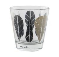 [Muurla]Black Leaves drinking glass 2pcs 309-027-02 유리잔세트