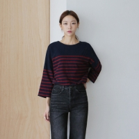Daily stripe label tee