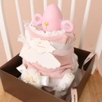 핑크 천사가내려왔어요 2단 기저귀케익 (투명부케상자+쇼핑백)