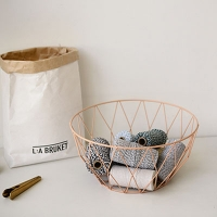 Wire round basket - Salmon pink