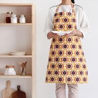 [Apron] 디자인 에이프런_Orange Circle Flower linen