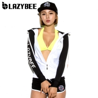 [LAZYBEE]티오만 스포티 여성후드집업래쉬가드-화이트/블랙