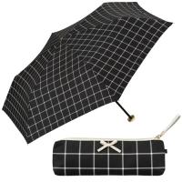 [양산] Ribbon check mini (no.801-557)-BK(블랙) 3단양산