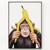 메탈 북유럽 그림 인테리어 액자 침팬지는 바나나를 좋아해