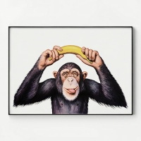 메탈 북유럽 동물 그림 액자 침팬지는 바나나를 좋아해2