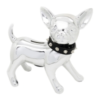 Chihuahua MoneyBox Silver