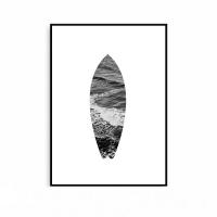 흑백사진 모던 인테리어 서핑보드 거실 액자 파도