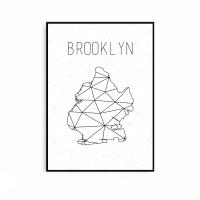 세계지도 액자 미니멀 인테리어 브루클린 포스터