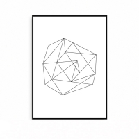 북유럽풍 화이트 블랙 메탈 액자 기하학 도형