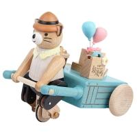 원목 오르골-선물 배달하는 곰