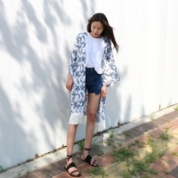 flower light robe cardigan