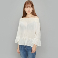 lace banding off shoulder blouse (2 colors)_(366277)