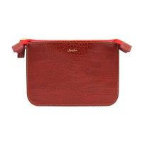 Leather Mini Pouch _ Croc Red