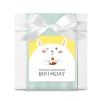 옐로우 래빗 생일답례 사각 라벨 (10개)