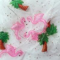Clear Flamingo & Palmtree String Lamp