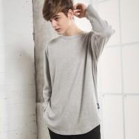 UNISEX Basic Round Long Tee-Grey