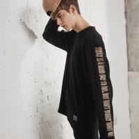 UNISEX Side Printing Long Sleeve-Black