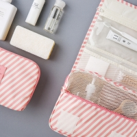 [10x10]PINK STRIPE TRAVEL POUCH SET