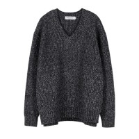 OVERSIZED V NECK SWEATER atb089(M CHARCOAL)