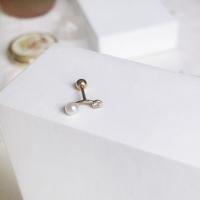 14k gold pearl dumbbell piercing