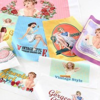 [Fabric]  Full HR American Glam Girl illust cut Linen