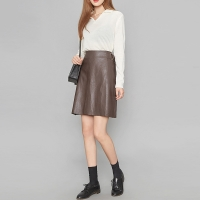wrap belt leather skirt (2 colors)_(412175)