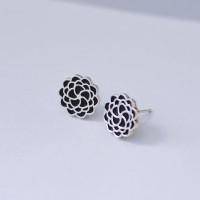 FLOS Flower Silver & Black Earrings 01