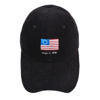 FLAG CORDUROY BALL CAP BLACK