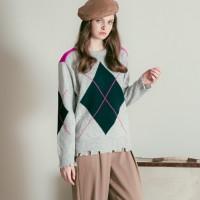 argyle round knit