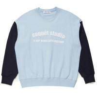 UNISEX COLOR BLOCK SWEAT SHIRT [SKY BLUE/NAVY]
