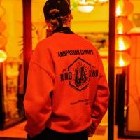 UNISEX RING CLUB OVERSIZED SWEATSHIRT atb110(Red Orange)