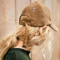 EYELET CORDUROY BASEBALL CAP aaa040(Brown)